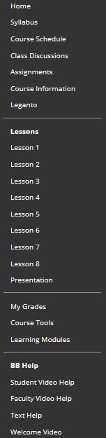 Sample Blackboard left column